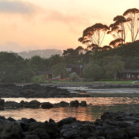 Waterfront holiday cottages at Coopers Beach